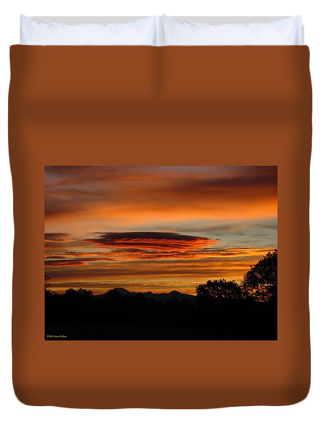 Sun Duvet Cover featuring the photograph October's Colorful Sunrise 2 by Joyce Dickens