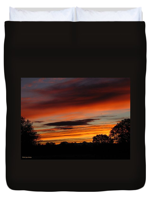 Sun Duvet Cover featuring the photograph October's Colorful Sunrise by Joyce Dickens
