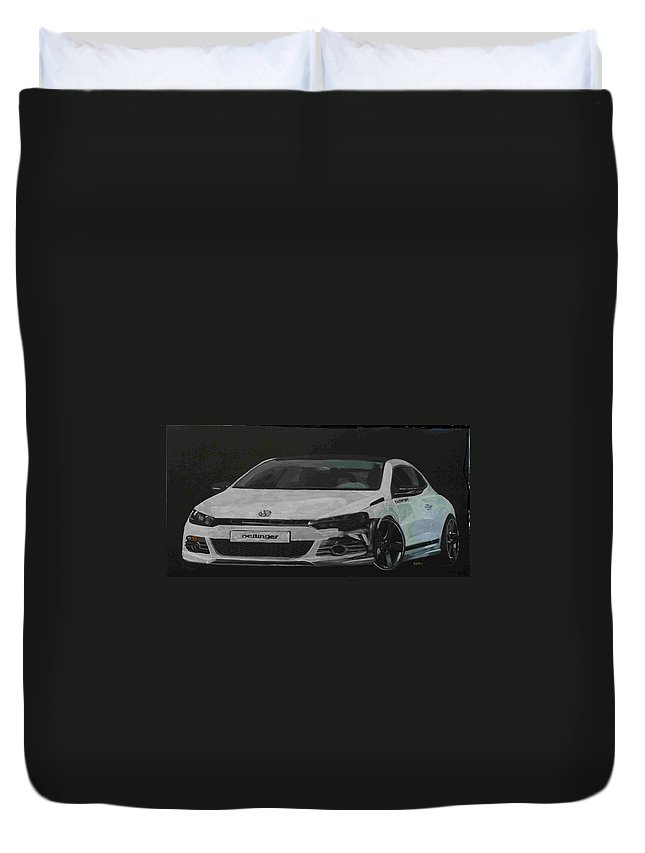 Vw Duvet Cover featuring the painting Oettinger Vw Scirocco by Richard Le Page