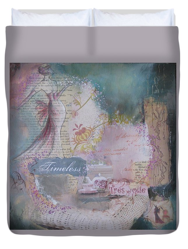 Lady Framed Print Duvet Cover featuring the painting Of Beauty And Mystery by Almeta LENNON