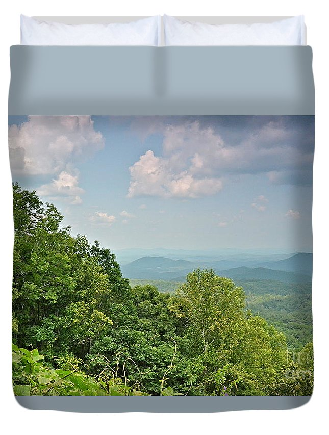 Mountains Duvet Cover featuring the photograph Oh Beautiful For Spacious Skies by Carol Bradley
