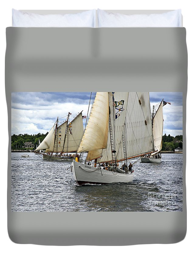 Windjammer Duvet Cover featuring the photograph Oh Captain My Captain by Brenda Giasson
