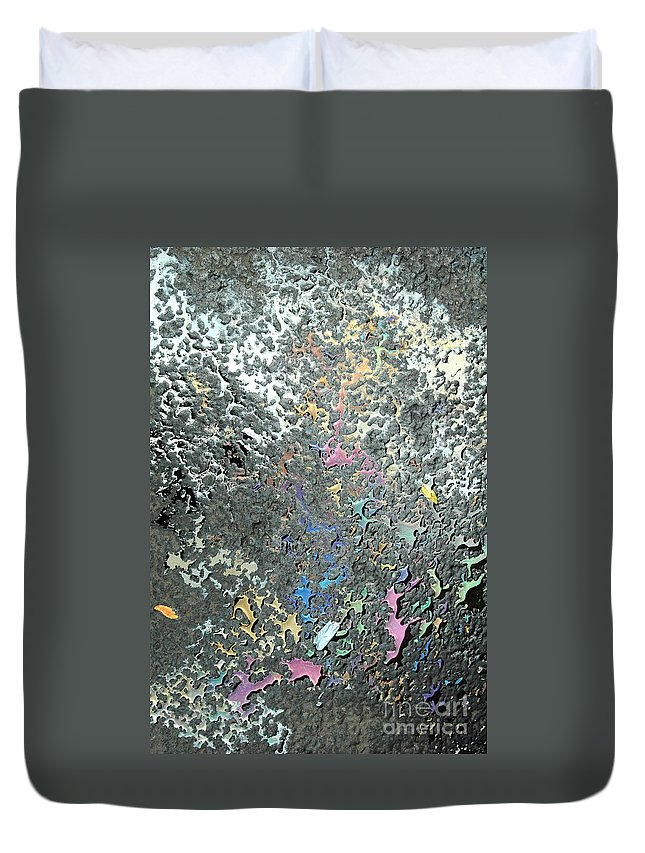 Abstract Duvet Cover featuring the photograph Oil Painting by Trish Hale