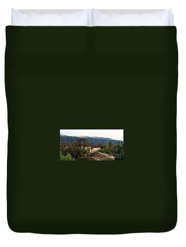 Ojai Duvet Cover featuring the photograph Ojai With Snow by Henrik Lehnerer