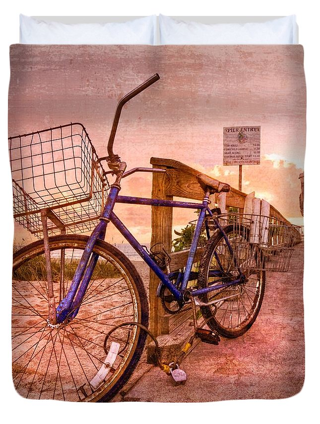 Clouds Duvet Cover featuring the photograph Ol' Bike by Debra and Dave Vanderlaan