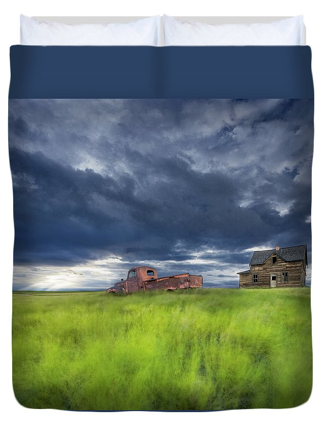 Light Duvet Cover featuring the photograph Old Abandonded Truck Near Empress by Darwin Wiggett