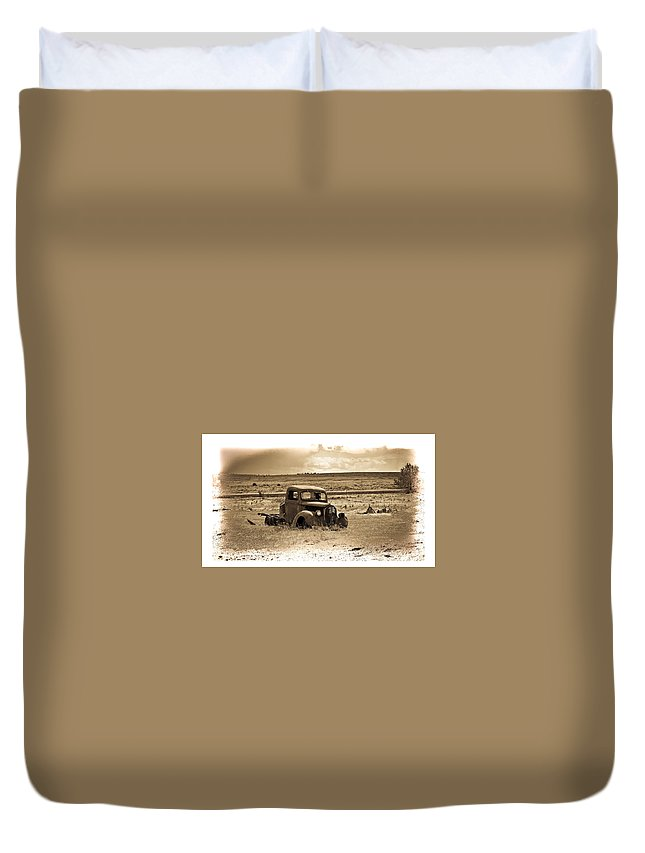 Hot Rod Duvet Cover featuring the photograph Old Abanoded Truck Fade by Steve McKinzie