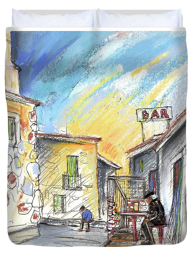 Spain Duvet Cover featuring the painting Old And Lonely In Spain 03 by Miki De Goodaboom