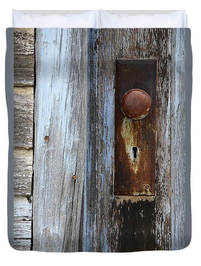 Door Duvet Cover featuring the photograph Old Blue Door 1 by Bob Christopher