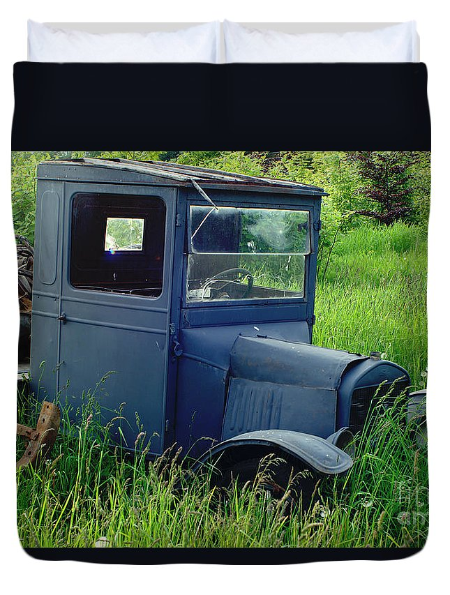 Cars Duvet Cover featuring the photograph Old Blue Ford Truck by Randy Harris