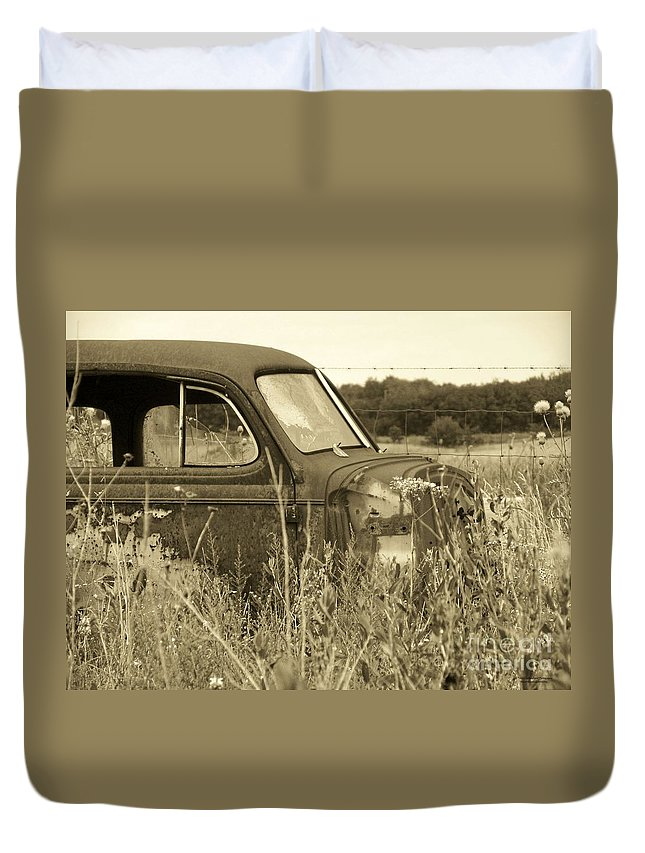 Car Duvet Cover featuring the photograph Old Car by Tisha Clinkenbeard