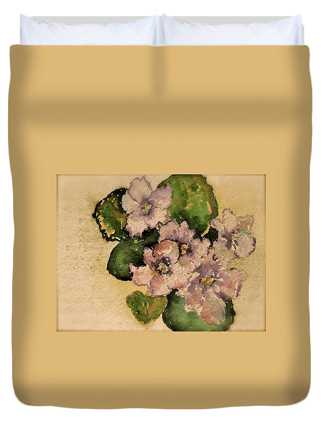 Violet Duvet Cover featuring the painting Old-fashioned African Violets by Beverley Harper Tinsley