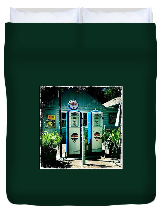 Old Fashioned Duvet Cover featuring the photograph Old Fashioned Gas Station by Nina Prommer