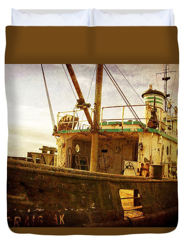 Boat Duvet Cover featuring the photograph Old Fishing Trawler by Michele Cornelius