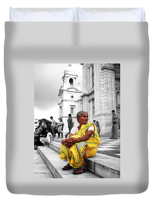 Old Duvet Cover featuring the photograph Old Indian Woman by Sumit Mehndiratta
