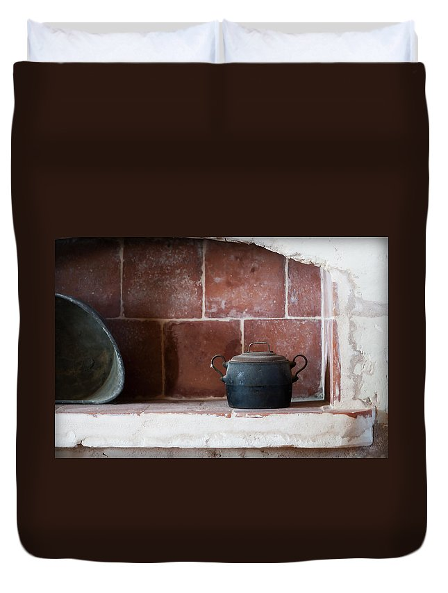 Scene Duvet Cover featuring the photograph old kitchen - A part of a traditional kitchen with a vintage metal pot by Pedro Cardona Llambias
