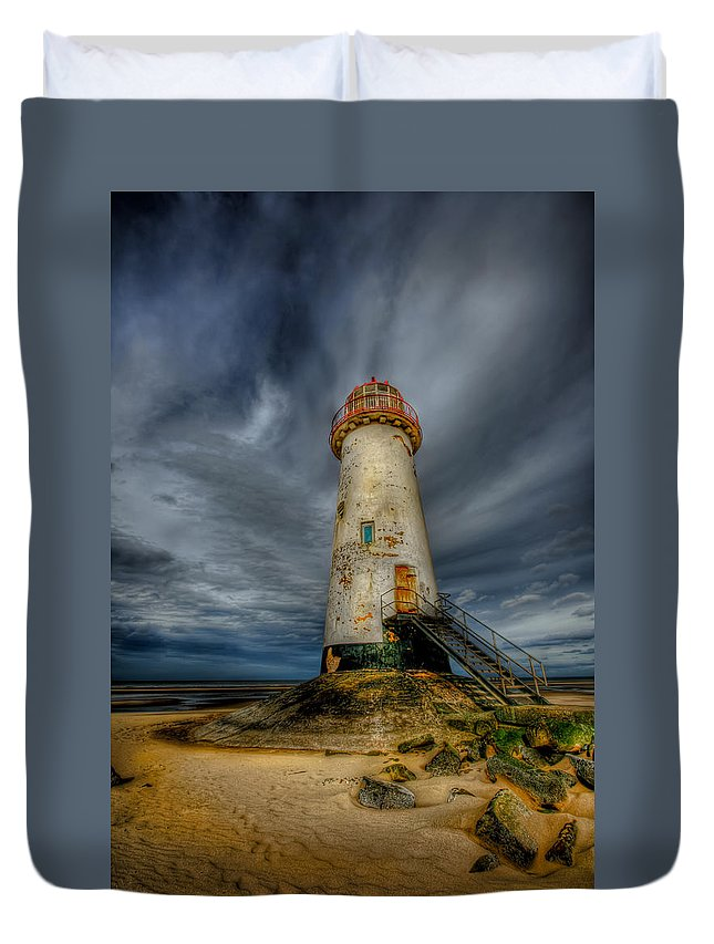 Beach Duvet Cover featuring the photograph Old Lighthouse by Adrian Evans
