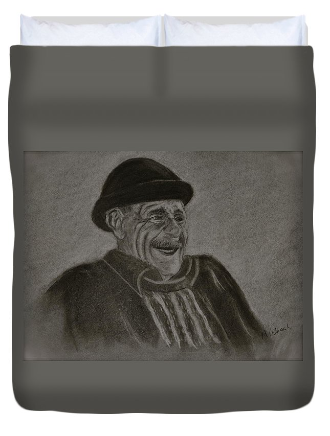Charcoal. Man Duvet Cover featuring the drawing Old Man Laughing by Michael Brennan