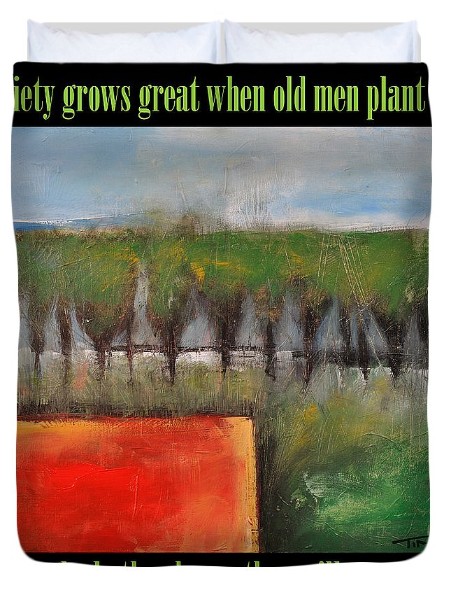 Trees Duvet Cover featuring the painting Old Men Plant Trees Poster by Tim Nyberg