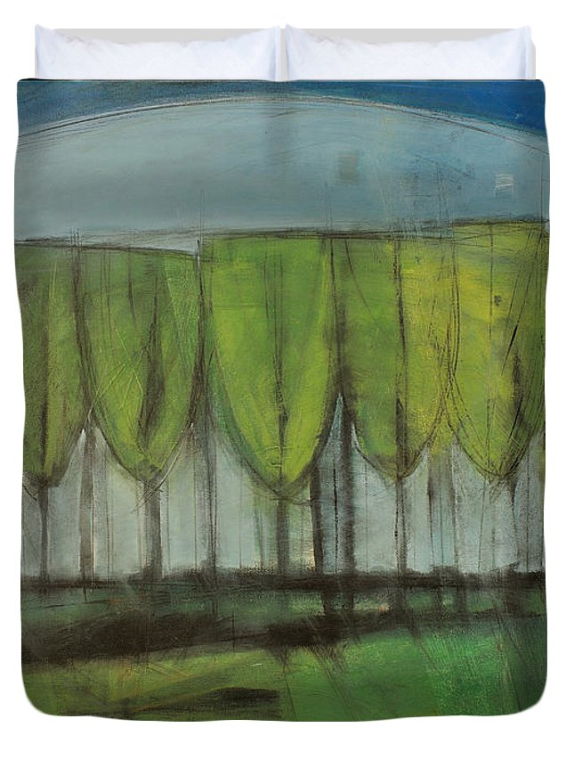 Trees Duvet Cover featuring the painting Old Men Plant Trees Proverb by Tim Nyberg