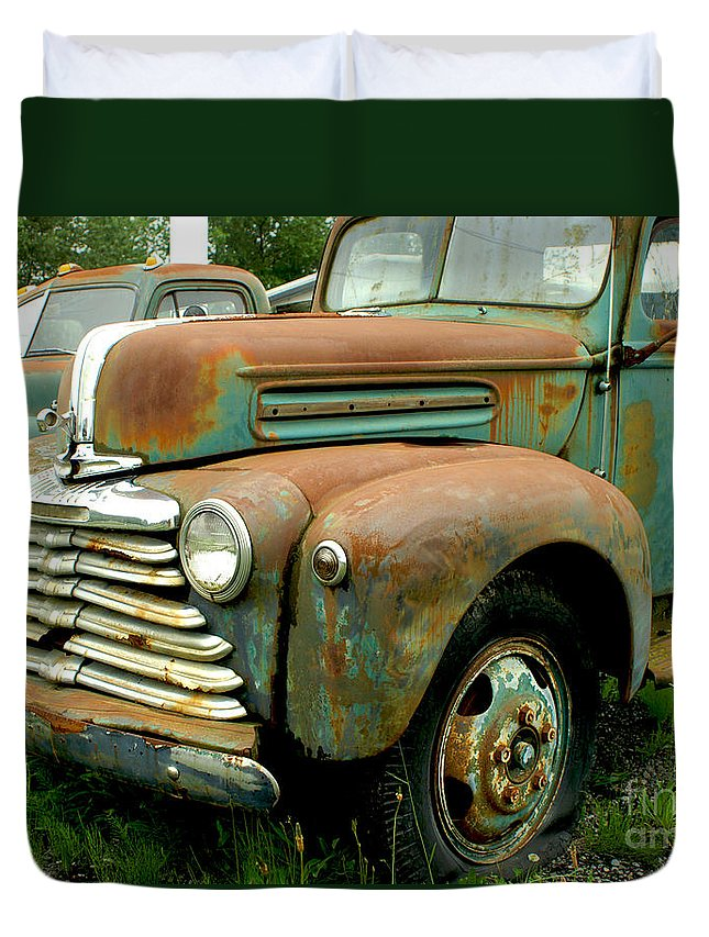 Cars Duvet Cover featuring the photograph Old Mercury Truck by Randy Harris