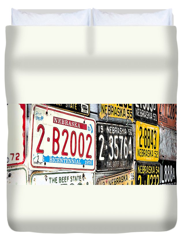 Plates Duvet Cover featuring the photograph Old Nebraska Plates by Pam Holdsworth