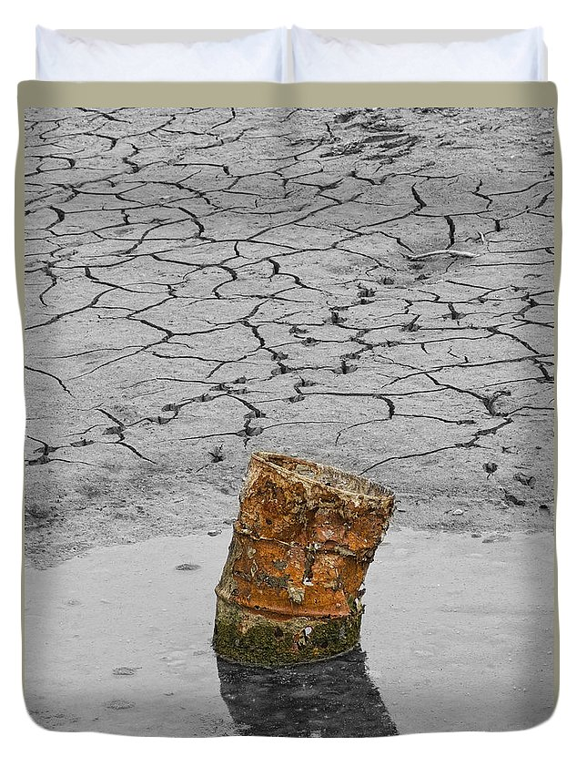 Barrel Duvet Cover featuring the photograph Old Rusted Barrel Abstract by James BO Insogna