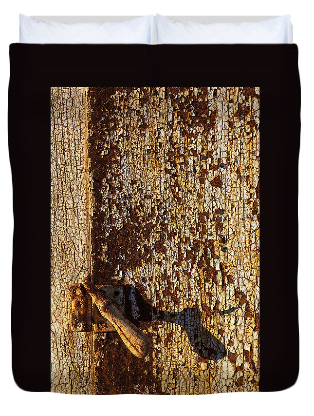 Old Duvet Cover featuring the photograph Old Rusty Door by Garry Gay