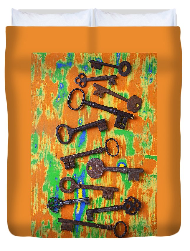 Old Duvet Cover featuring the photograph Old Rusty Keys by Garry Gay
