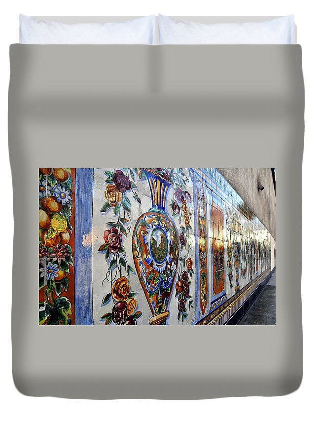 Ybor City Florida Duvet Cover featuring the photograph Old Spanish Tiles by David Lee Thompson