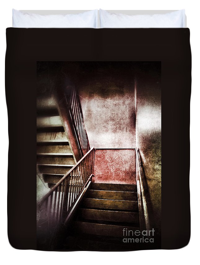Stairs Duvet Cover featuring the photograph Old Stairwell by Jill Battaglia