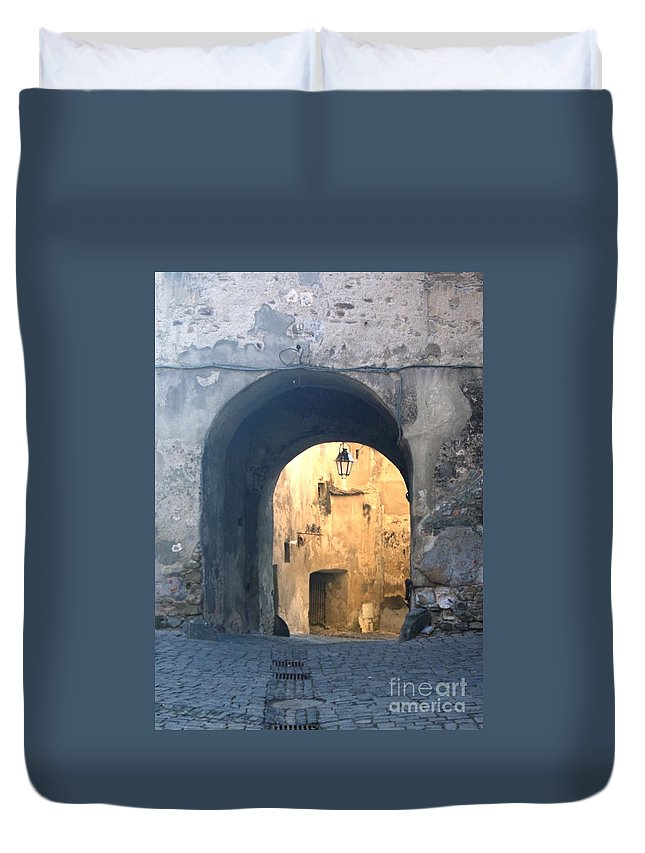 Sighisoara Duvet Cover featuring the photograph Old town gate 1 by Amalia Suruceanu