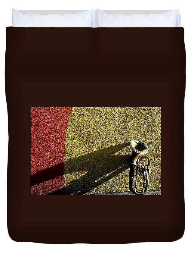 Old Duvet Cover featuring the photograph Old Tuba With Shadow by Garry Gay