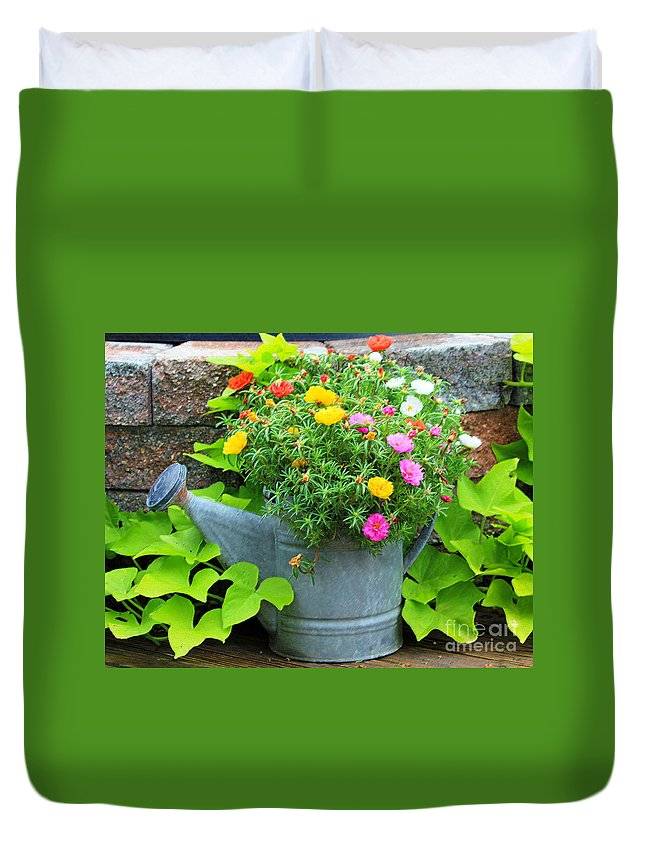 Flowers Duvet Cover featuring the photograph Old Watering Can by Jack Schultz
