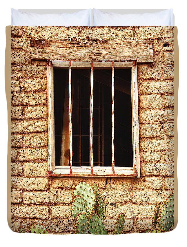 'old Jailhouse' Duvet Cover featuring the photograph Old Western Jailhouse Window by James BO Insogna