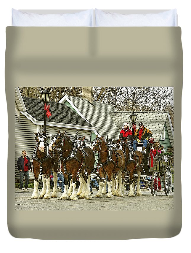 Horses Duvet Cover featuring the photograph Olde Tyme Travel Clydesdales by Jenny Gandert