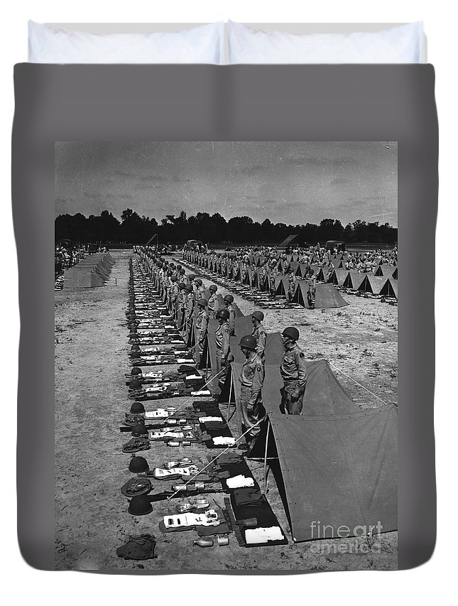 War Duvet Cover featuring the photograph Oldiers Stand By For Inspection by Stocktrek Images