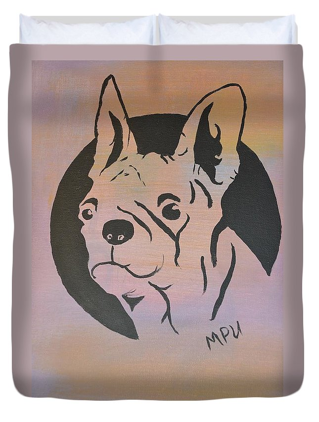 Boston Terrier Duvet Cover featuring the painting Ole Fella by Maria Urso