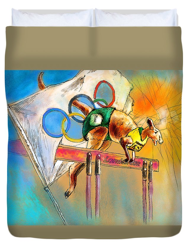 Fun Duvet Cover featuring the painting Olyver by Miki De Goodaboom