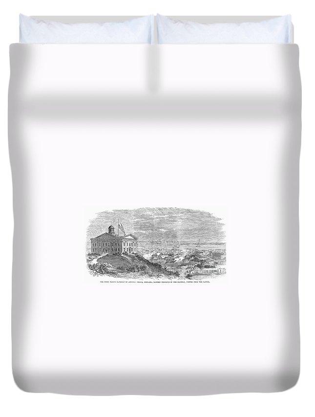 1869 Duvet Cover featuring the photograph Omaha, Nebraska, 1869 by Granger