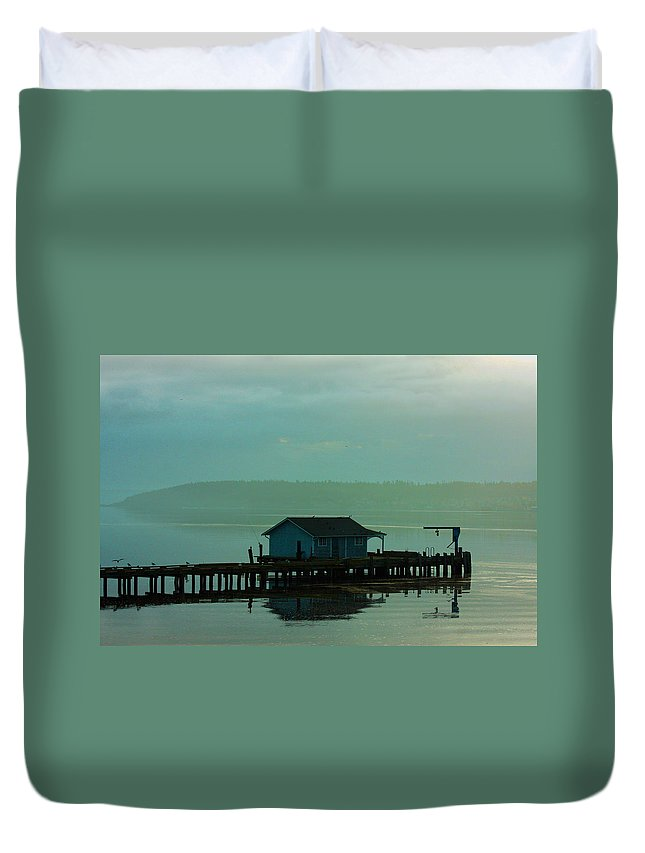 Pier Framed Prints Duvet Cover featuring the photograph On A Pier by Marie Jamieson