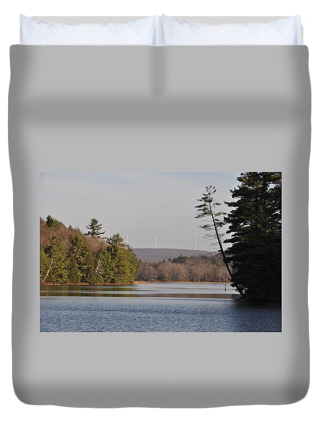 Bear Duvet Cover featuring the photograph On Bear Creek Lake by Bill Cannon