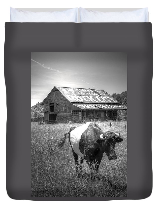 Cow Duvet Cover featuring the photograph On The Move by David Troxel