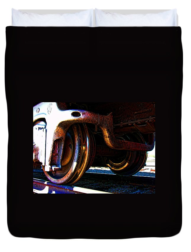 Train Duvet Cover featuring the photograph On The Tracks by Adam Vance