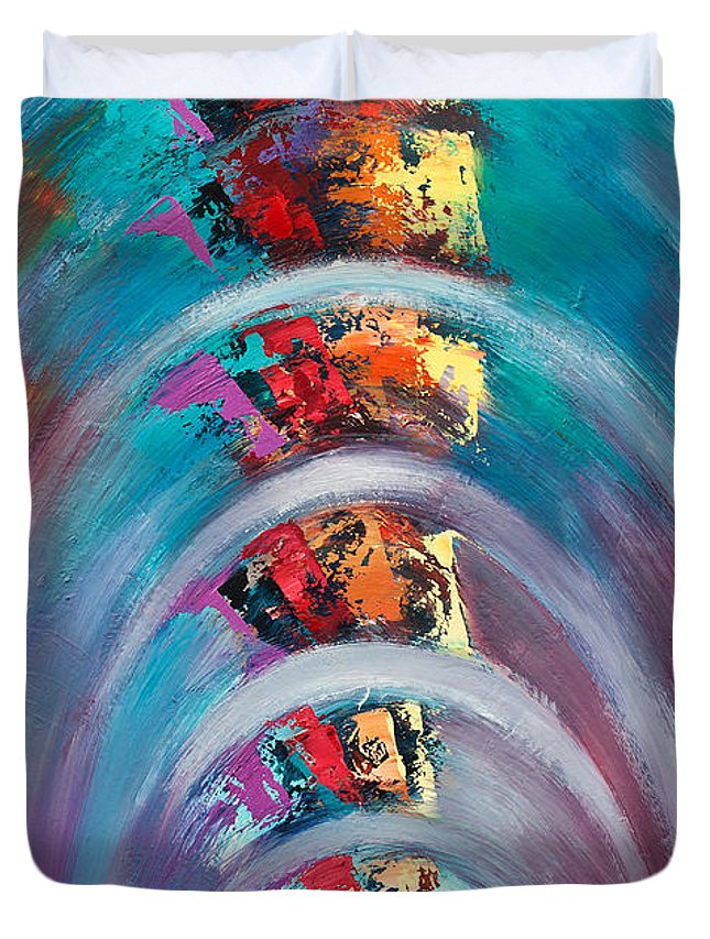 Ripple Duvet Cover featuring the painting Onda Expansiva by Aliosha Valle