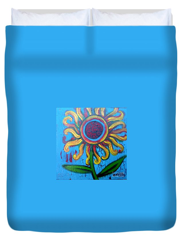Sunflower Duvet Cover featuring the painting One Flower by Genevieve Esson