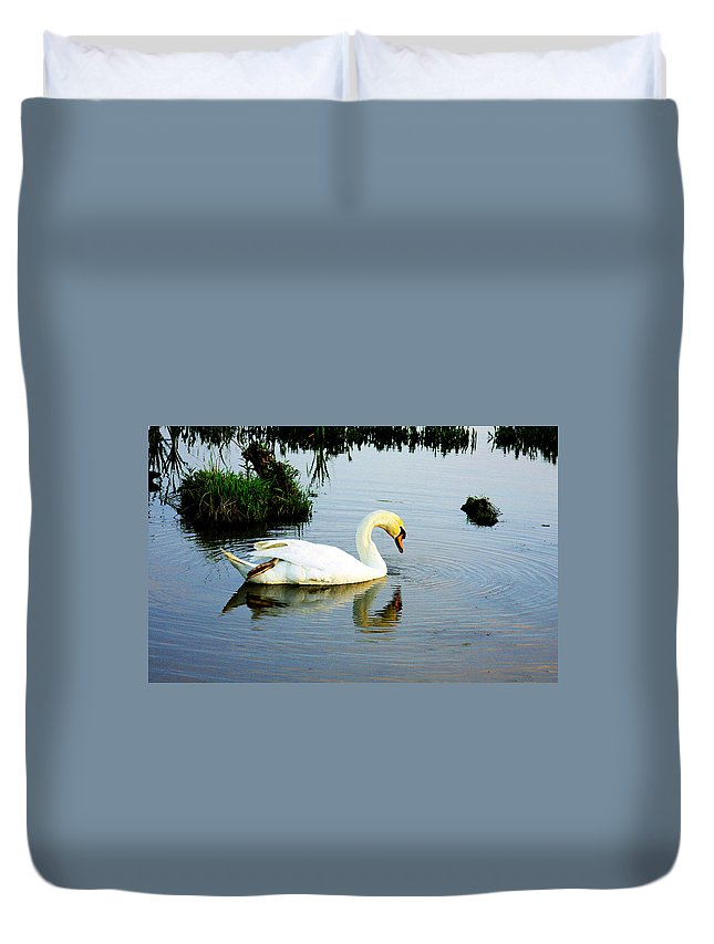 Swan Art Duvet Cover featuring the photograph One Foot At Ease Swan by Marie Jamieson