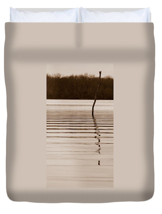 One Miss Stake Duvet Cover featuring the photograph One Miss Stake by Ed Smith