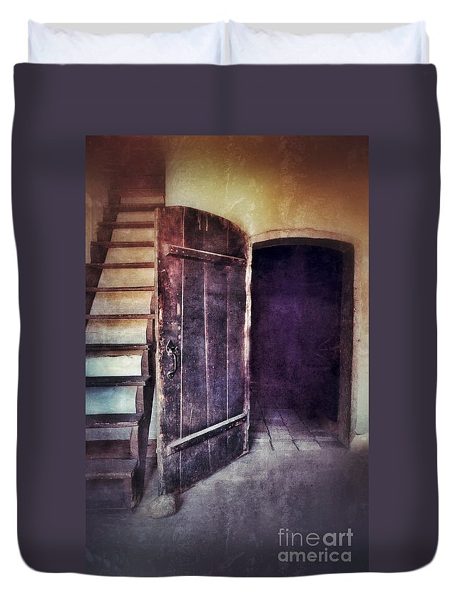 Door Duvet Cover featuring the photograph Open Door By Staircase by Jill Battaglia