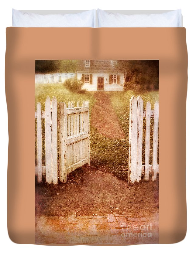 House Duvet Cover featuring the photograph Open Gate To Cottage by Jill Battaglia